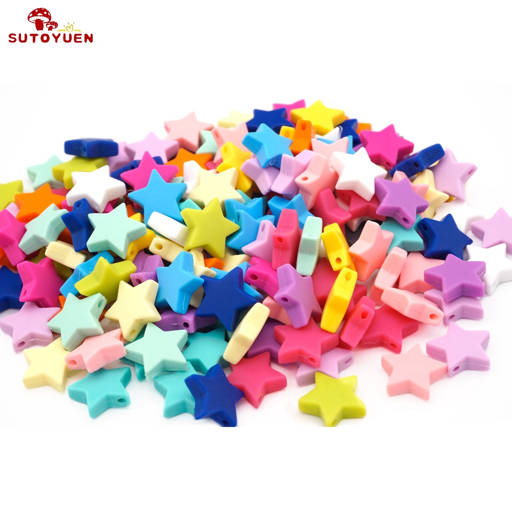 Sutoyuen Silicone Beads Star 100pcs Baby Teething Beads Chewable Teethers Safe Toys For Pacifier Chain Jewelry