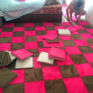 Bedroom carpet full shop room square puzzle plush thick bedside floor washable foam splicing mat-31(China)