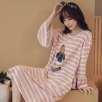 New Listing 2017 spring&Autumn Women's Long cartoon Pijamas Home Cloth Nightshirt women causal Sleepwear Cotton Ladies Nightgown