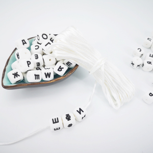 Image 1 - Anneau de dentition en Silicone pour bébé, 10 perles avec lettres russes de 12mm, cubes dalphabet sans BPA, à faire soi même pour bébé, nom, sucette chaîne, sucette