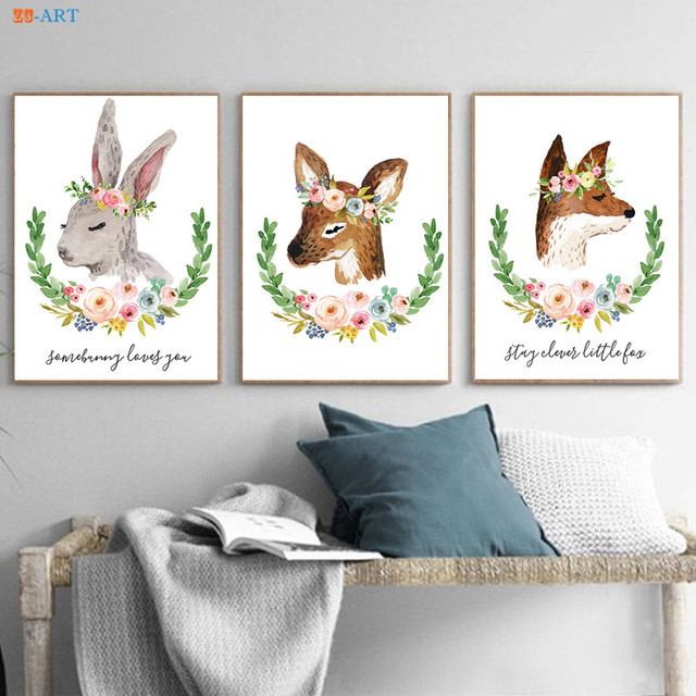Deer Rabbit Fox Canvas Painting Prints Minimalist Wall Art Framed Nursery Animal Poster Kids Room