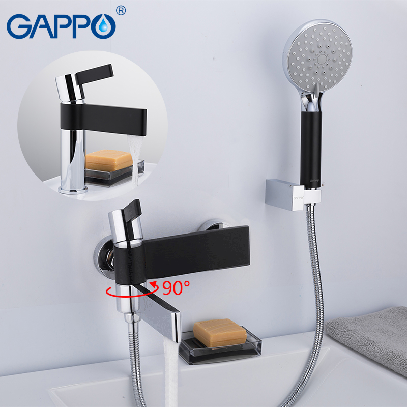 GAPPO Shower Faucets brass water tap chrome and black bath faucet mixer shower set with basin faucet torneira do anheiro gappo shower faucet bath mixer black massage shower faucets bathtub tap sets shower mixer torneira do anheiro shower faucet sets