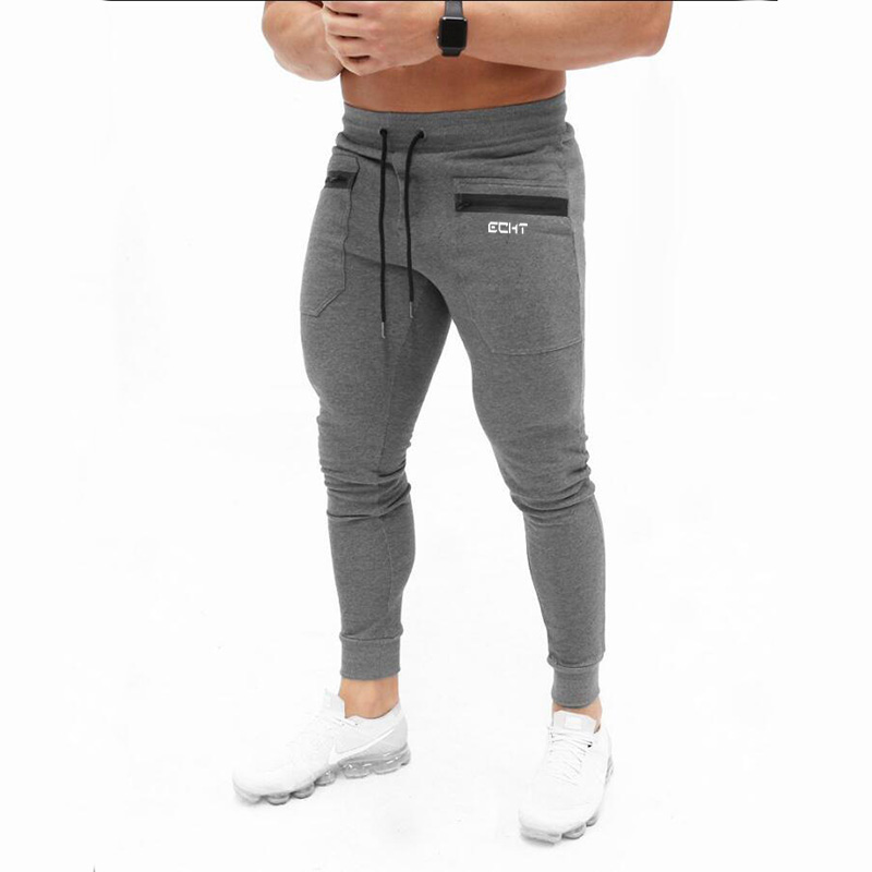 Men cotton fleece fitness track jogging pants joggers with red stripe black grey