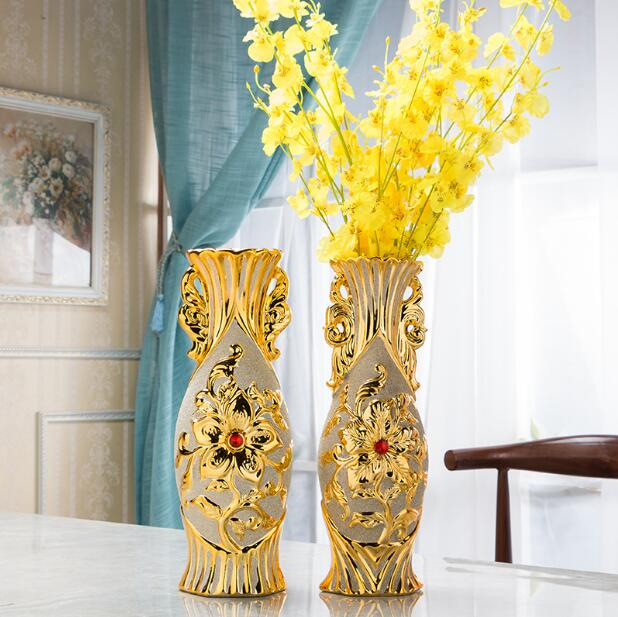Golden ceramic vase Chinese style simple modern floor sitting room bedroom household decorates flower implement