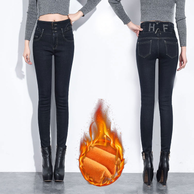 2019 Winter Fashion Female High Waist Black Mom Jeans Large Size Boyfriend Jeans For Women Warm Denim Pencil Skinny Jeans Women