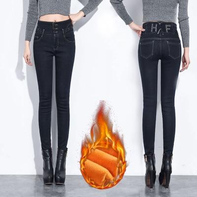 2019 Winter Fashion High Waist Black Female   Jeans   Mom Large Size Female Boyfriend   Jeans   For Women Warm Denim Skinny   Jeans   Women