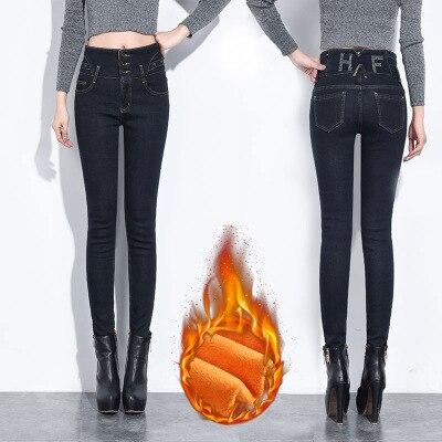 New 2019 Winter Warm Skinny Jeans Woman Female High Waist Black Mom Jeans Boyfriend Jeans For Women Plus Size Denim Women Pants