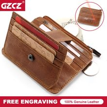 GZCZ Nieuwe Lederen Credit Card Holder Cover Vintage Card & ID Houders Rits Poucht Kaart Pakket Organizer Mini Mannen portemonnee(China)