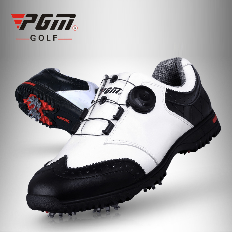 PGM Men Genuine Leather Golf Shoes Waterproof Outdoor Sneakers Anti Skid Sport Shoes For Golf Brand Automatic Lace Golf Shoes pgm genuine golf shoes men s double patent golf shoes high performance anti collision exoskeleton anti skid soles