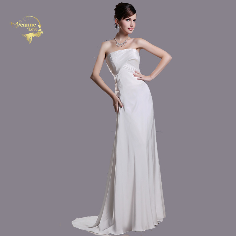 Simple Cheap Satin Wedding Dresses Free Shipping Empire Waist Women Long Bridal Gown Bride Dress Vestidos