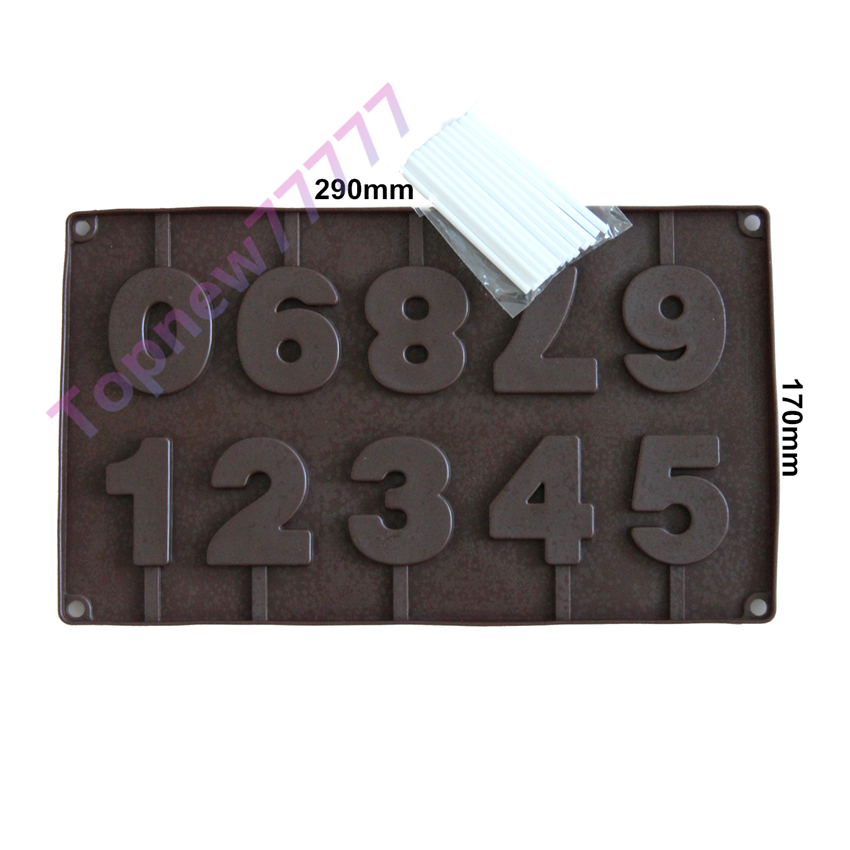 Cookie Icecream Sweet 3D 1-9 arabic numerals shape Chocolate Silicone Mold Cake decoration tools Muffin Pan+ 2497