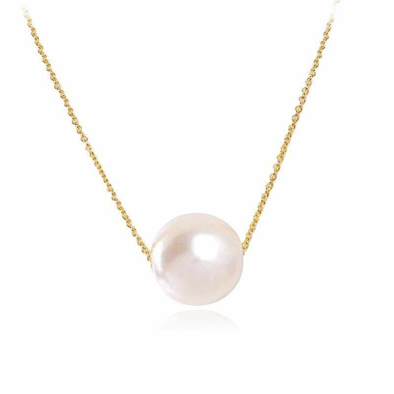 แฟชั่นผู้หญิงเลียนแบบเพิร์ลสร้อยคอจี้ผู้หญิงหวานรอบ Ball Drop Gold เครื่องประดับอุปกรณ์เสริม Bijoux