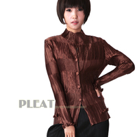 MIỄN PHÍ VẬN CHUYỂN của phụ nữ mùa xuân áo khoác ngoài miyake pleated dài tay áo ruffle top màu rắn mỏng cardigan TRONG KHO