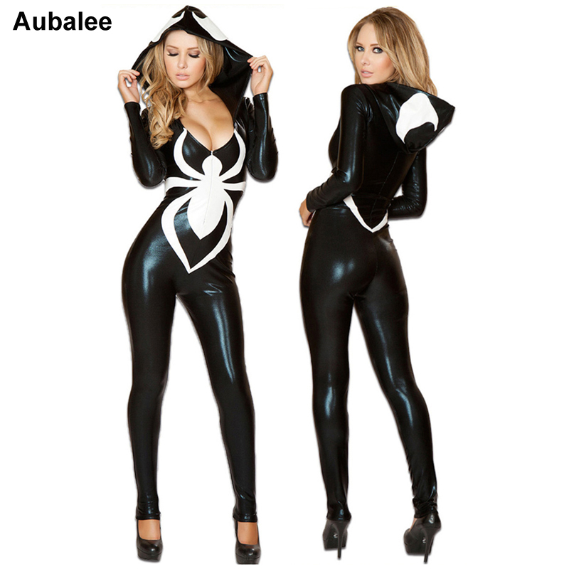2017 Spiderman Jumpsuit New Black Halloween Costume For Women Ladies Venom Spider Sexy Faux Leather Catsuit Hood Disfraz Mujer