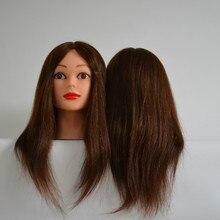 100% human hair mannequin head professional training head for salon 50cm mannequin head with hair