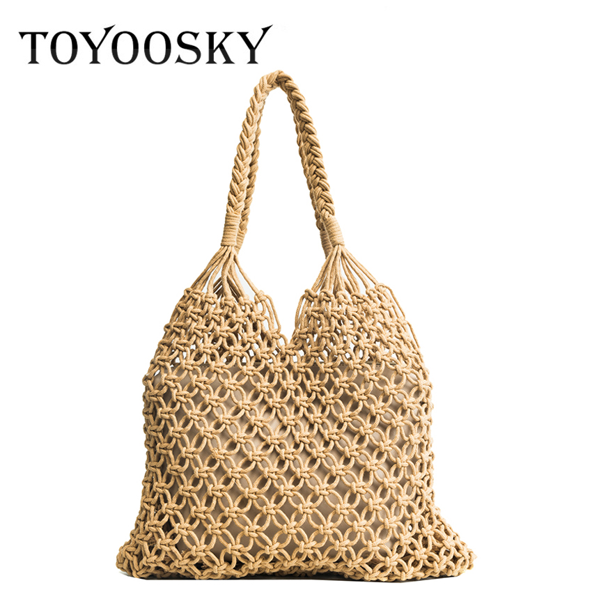 TOYOOSKY Fashion Women Shoulder Bag Mesh Rope Weaving Tie Bucket Bag With Purse Reticulate Hollow Out Straw Bag Beach Tote Bag цена