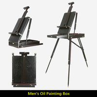 Black Coffee Pine Wood Stand Easel For Painting Portable Folding Art Easel Box For Artist