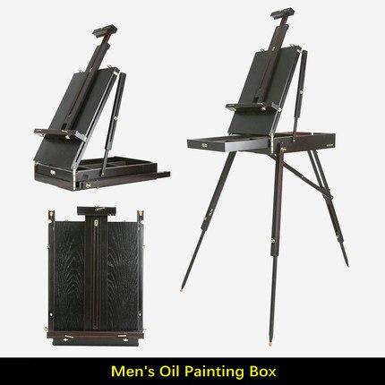 Chevalet de support en bois de pin de café noir pour peindre la boîte pliante portative de chevalet d'art pour l'artiste