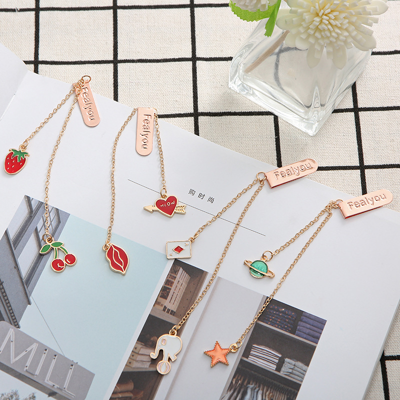 4 Pcs/Set Exquisite Cherry And Planet Metal Pendant Bookmark Book Holder Message Card Gift Stationery