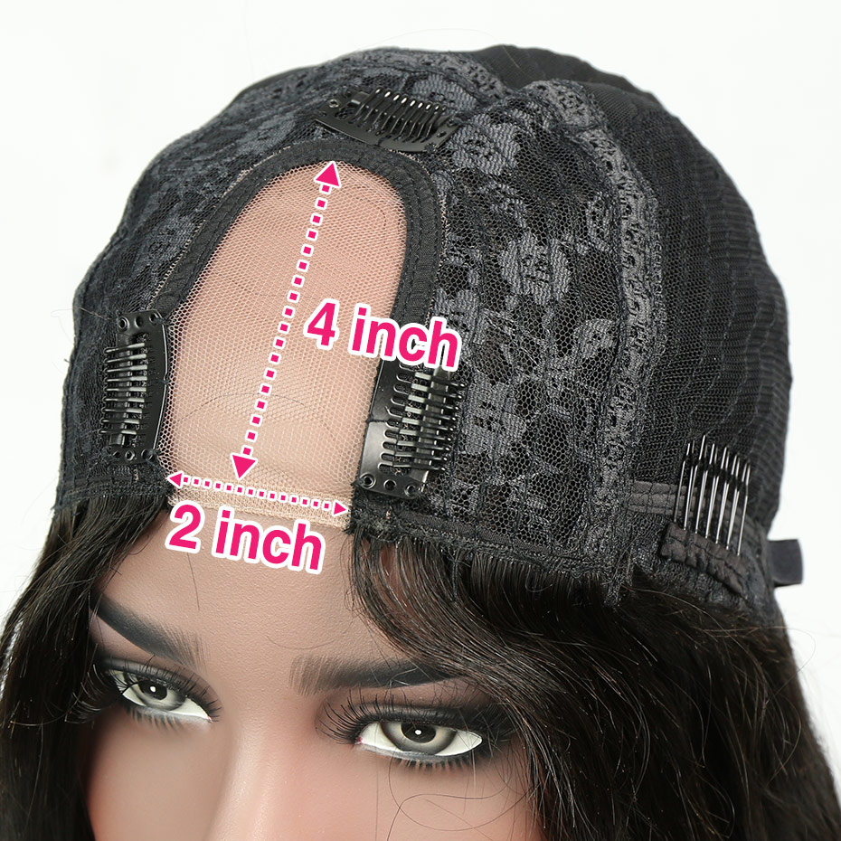 Liweike U Part Wigs Brazilian Silky Straight Natural Hairline Pre Plucked Bleached Knots 150% Density Virgin Human Hair Wigs