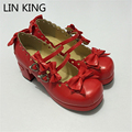 LIN KING Top Qaulity Cosplay Lolita Shoes Spring PU Leather Women Pumps Platform Square Heel Sweet Bowtie Buckle Straps Pumps