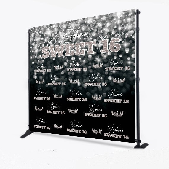 custom sparkly bokeh Black And White backgrounds High quality Computer print party backdrops