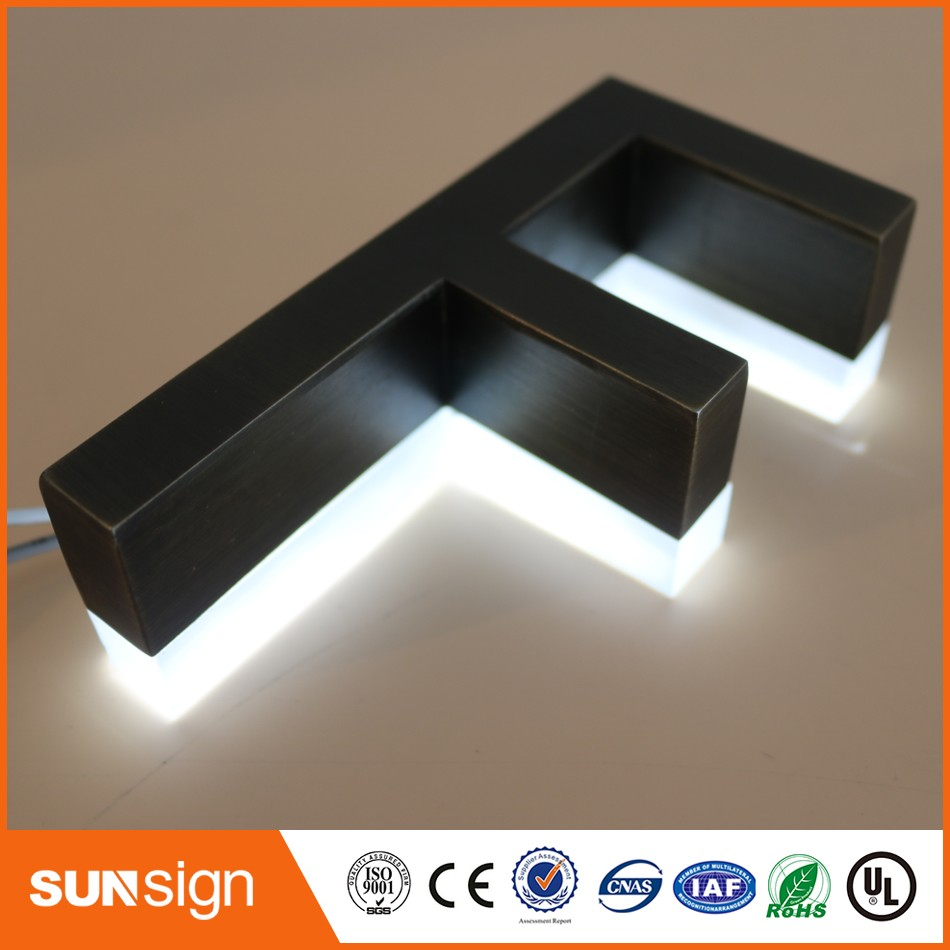 Outdoor Archaize Stainless Steel Acrylic Backlit Led Electrical Company 3D Logo Signs