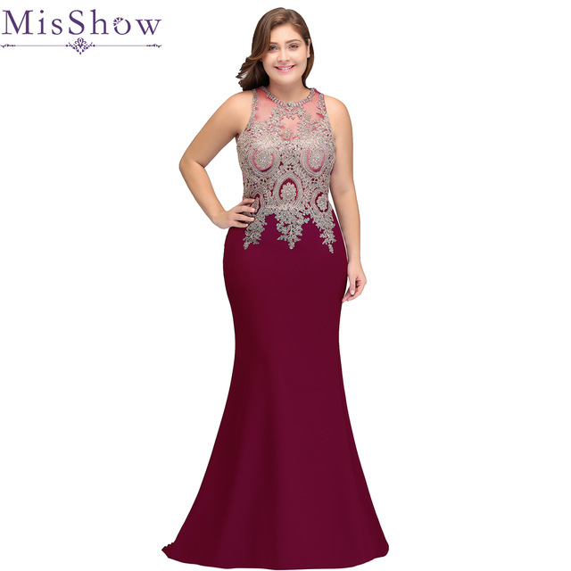 US $51.09 43% OFF|Women Formal Evening Dress Plus Size burgundy Elegant  Prom Lace Gown Sleeveless Long Wedding Party Dress Mermaid 2019-in Prom ...