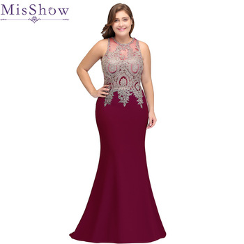 Women Formal Evening Dress Plus Size burgundy Elegant Prom Lace Gown Sleeveless Long Wedding Party Dress Mermaid 2019