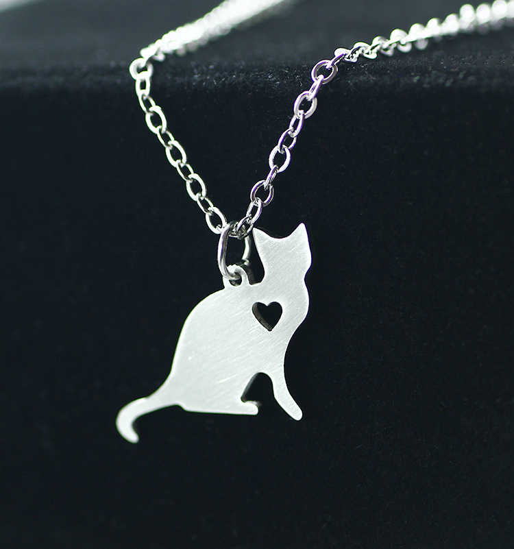 SUTEYI Cute Little Cat Animal Necklace Women Choker Stainless Steel Pendant Fashion Simple Statement Necklaces Femme Jewelry