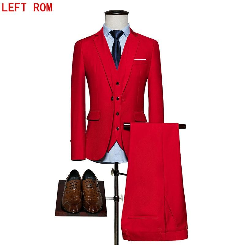 (Blazer+Pants+Vest) Classic Men Suit Slim Royal Blue Wedding Groom Wear Men Suit Black Gentlemen Costume Mariage Homme S-6XL