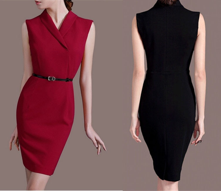 Elegant slim sheath bodycon dress black/ red OL dress vestidos business wear to work career apparel ...