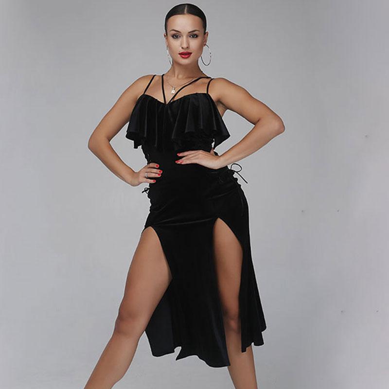 Black Sexy sling Latin dance long skirt Velvet Latin dance long skirt for women Cha Cha/Rumba/Samba/Tango Dresses For Dance
