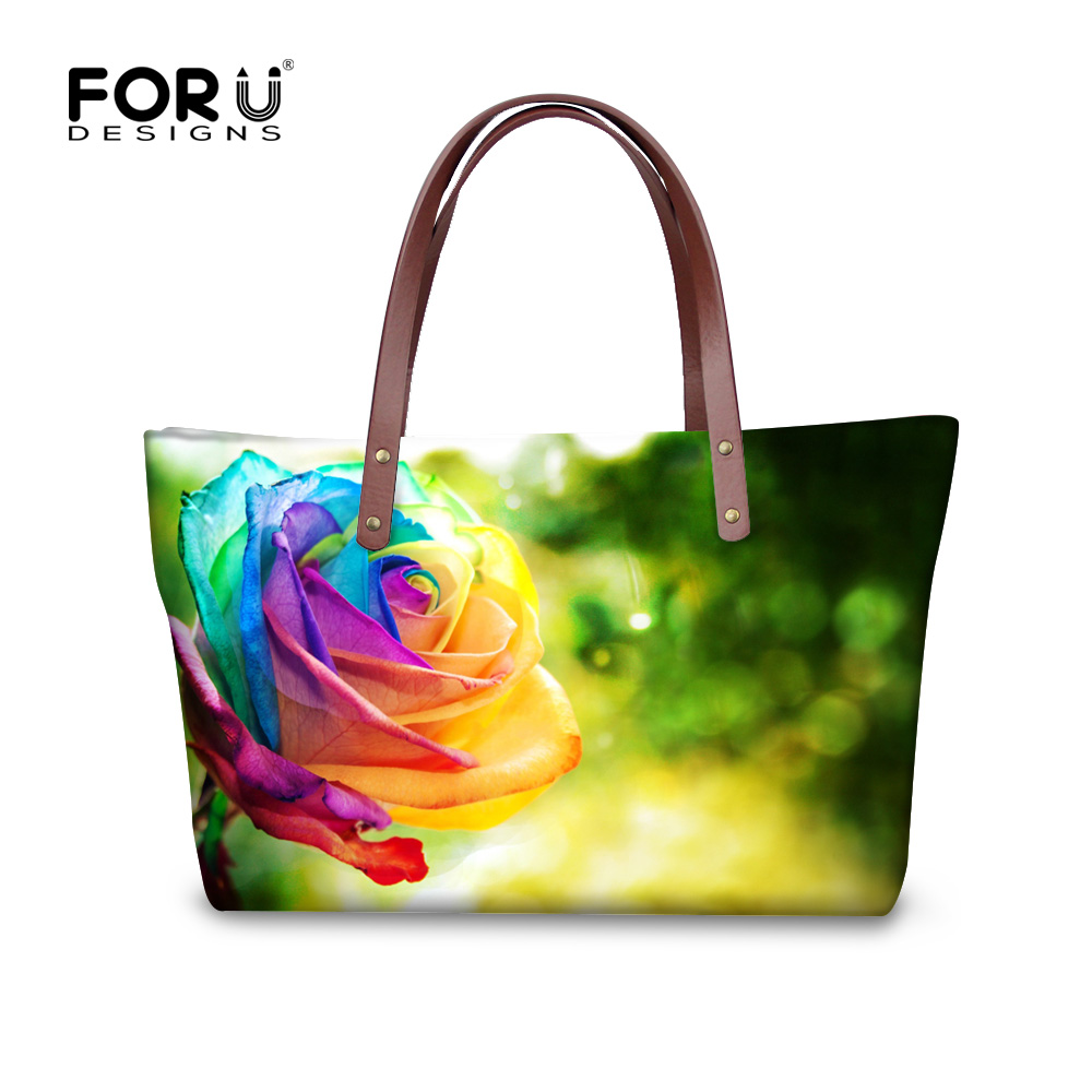 Fashion Flower Rose Print Tote Bags Large Capacity Shoulder Bag Handbags for Women Casual Lady Top Handle Bags Bolsas Mujer joypessie lady top handle bags backpack women famous brands female casual shoulder bag tote for ladies large capacity backpack