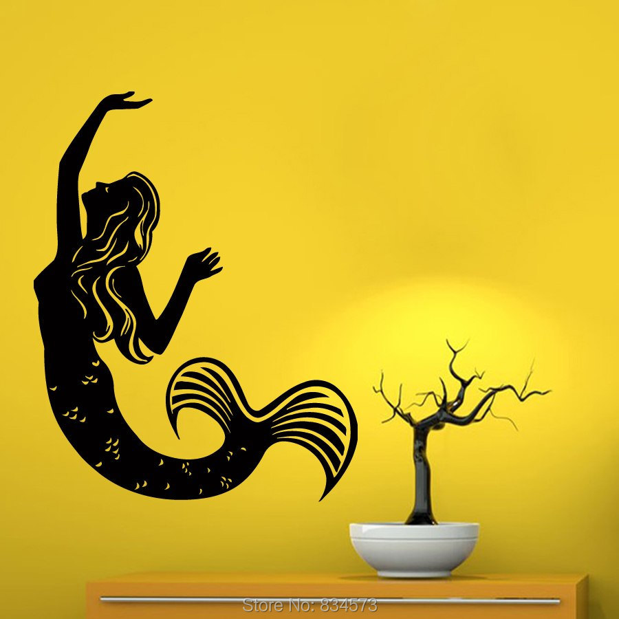 Fairy Girl Mermaid Silhouette Wall Art Stickers Decal Wall Art ...