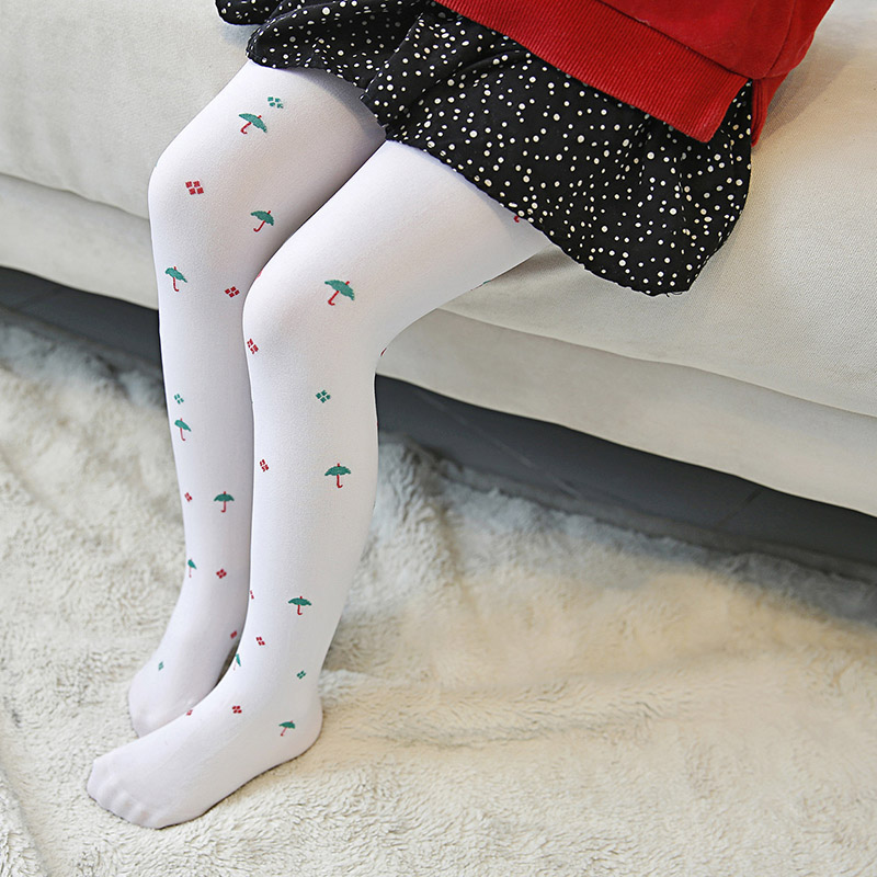Baby Girls's Tights Lovely Candy Color Cartoon Pattern Jacquard Opaque Velvet Ballet Pantyhose For 5-10 Years