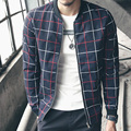 New 2016 Jacket Men Fashion Casual Lattice pattern  Mens Jacket Bomber Jacket Mens jackets and Coats Plus Size 4XL 5XL