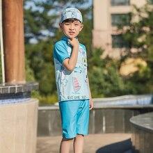 Купальный костюм для мальчиков, комплект из 2 предметов: шапка+ рубашка+ шорты, детский купальный костюм, детский купальный костюм с героями мультфильмов, спортивные плавки для детей