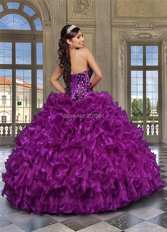 2016 Púrpura Barato Vestidos de Quinceañera Cristales Sweethert ...