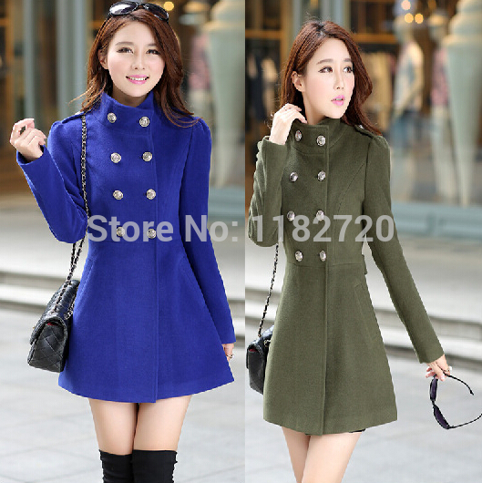 Free shipping Womens Winter Coats Wool Autumn Slim Double Breasted Medium-Long Coats for Ladies Females plus size caot S-2XL