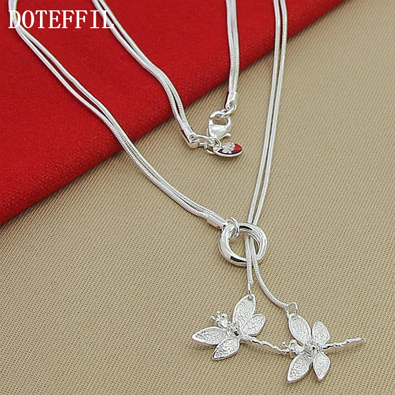 Free Shipping Silver 925 Necklace Free Shipping Silver 925 Fashion Jewelry Two Dragonfly Necklace 8
