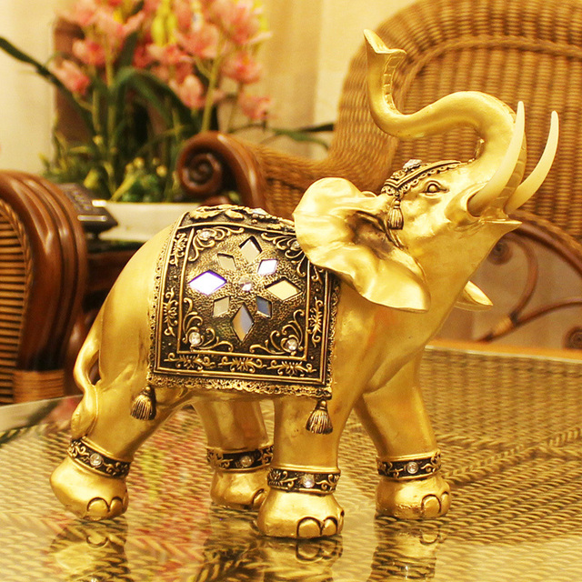 Elephant Figurines Statue Statuettes For Home Resin Garden Figures for Garden miniaturas de bonecos Terrarium Wedding 13007-350