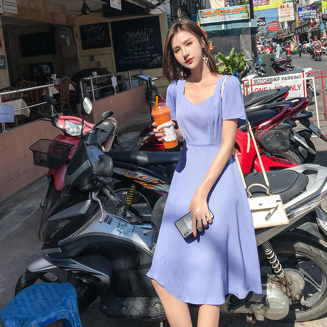 2019 Top sale Spring Long Pleated dress Summer Casual Women High Waist Elascity