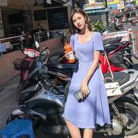 2019 alta calidad primavera vestido plisado largo verano Casual mujeres cintura alta