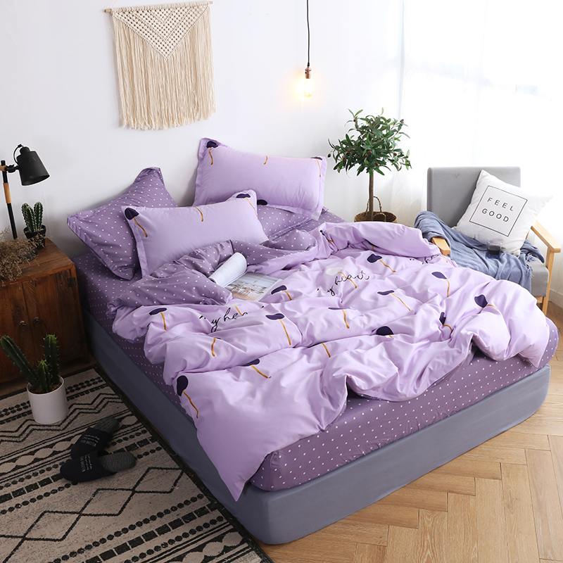 BEST.WENSD Sets Pillowcases Bed-Cover-Set Fitted-Sheet Beddings Korean Violet Full-Queen