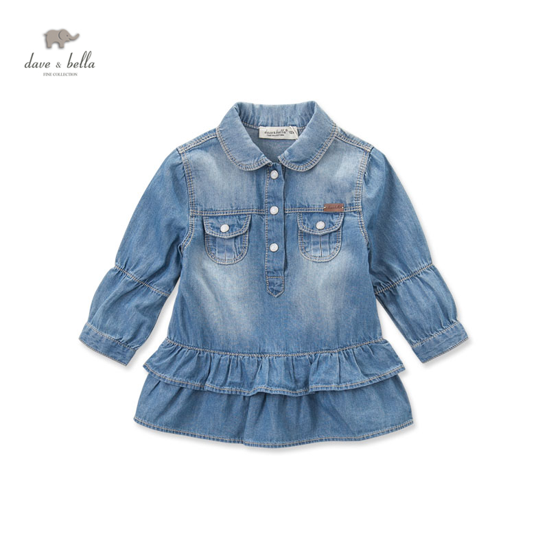 ФОТО DB4019 dave bella autumn baby girl denim dress baby jeans dress kids clothes