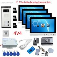 For 4 Apartments 9″ Color 8GB TF Card Recording Video Door Phone Video Camera For Door Camera Video Door Bell + Rfid Door Lock