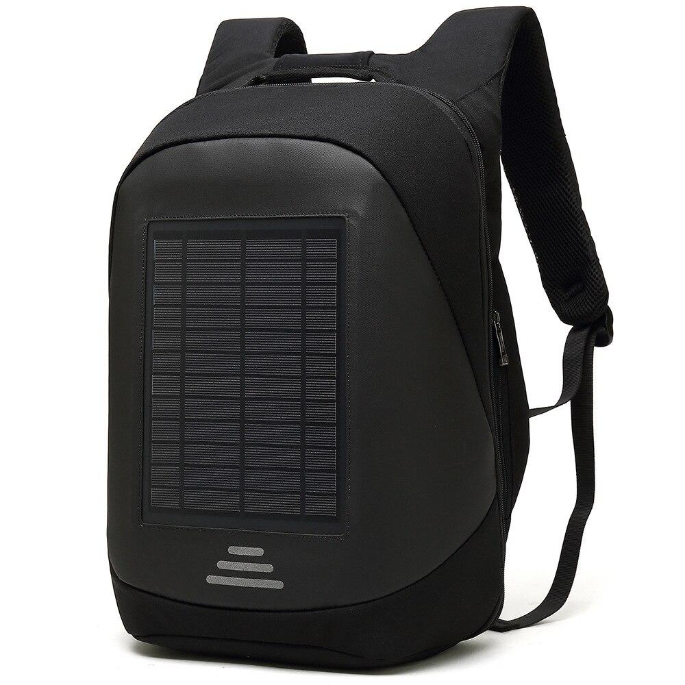 15 6 Laptop Solar Backpack Large iPad Bag USB Charging Business Backpacks Traveling Daypack anti theft
