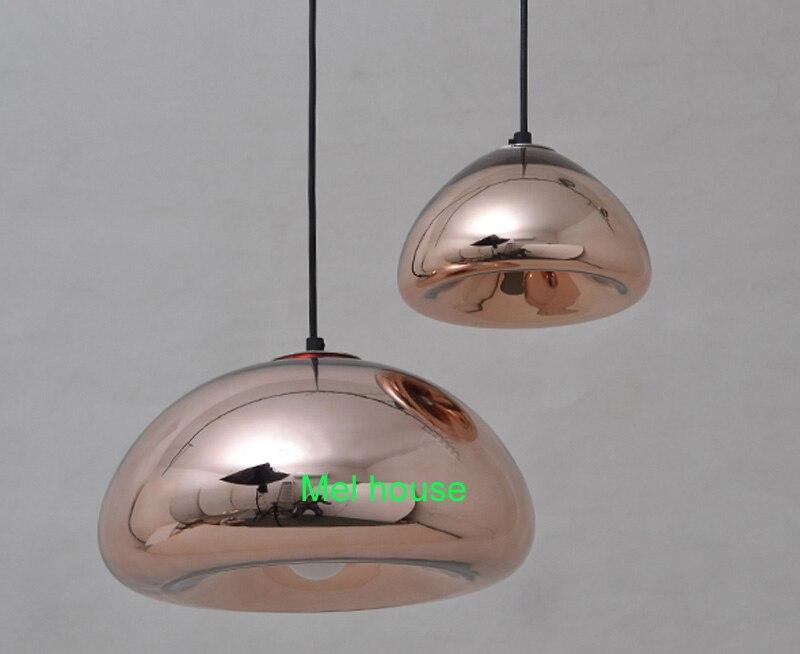 Led lampade a sospensione in vetro di rame ombra lampada a