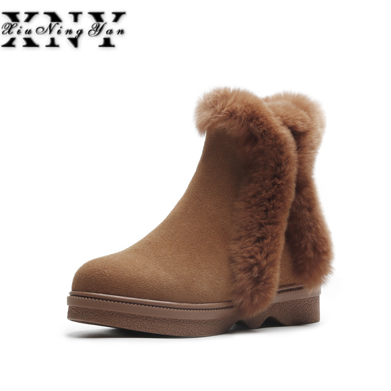 XIUNINGYAN 2018 New Women Winter Snow Boots Casual Ankle Boots Warm Genuine Leather Wool Shoes Snow Zip Women Shoes Plus Size 40 plus size 36 46 genuine leather women ankle boots hiking shoes women work safety shoes